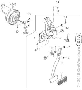 Педаль сцепления и тормоза