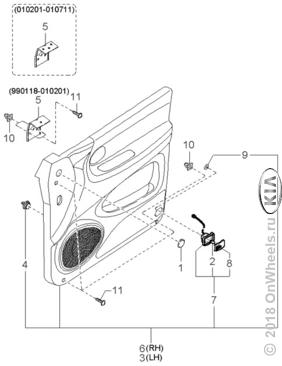 Trim & related parts-front door