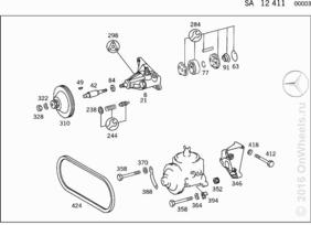 ENGINE PARTS W/MB POWER STEERING (FOR M102 ONE-BELT DRIVE,SEE STANDARD MICROFICHE)