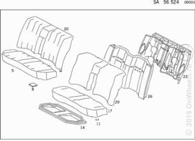 REAR SEAT BENCH WITH HEADRESTS,FABRIC